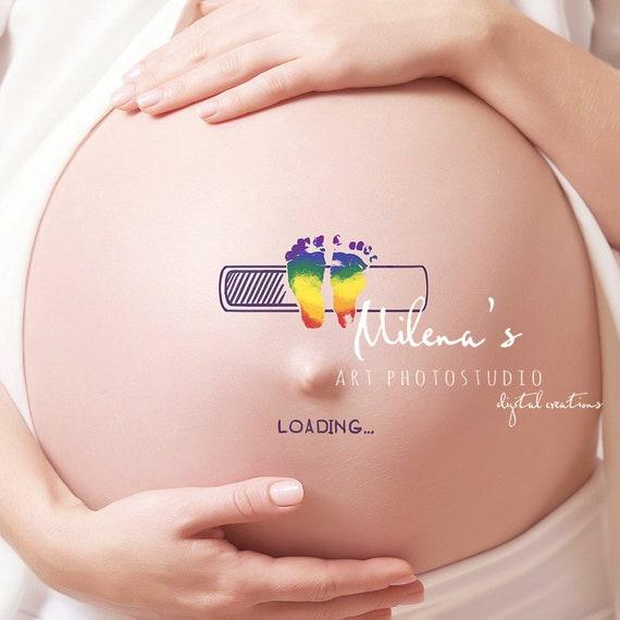 Baby Loading 3 In One Digital Body Art For Pregnant Tummy Etsy