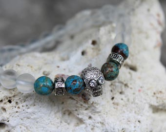 UDM Casper   Natural Stone   Blue Crazy Lace Agate   Zircon Skull   Frosted White   8mm Beaded Bracelet   Jewelry   Mens Fashion   Premium