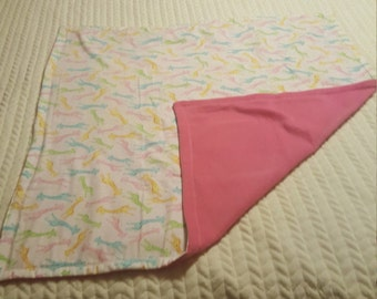 Pink and White Giraffe Baby Blanket