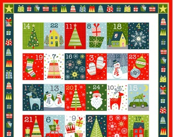 Joy Christmas Advent Calendar Panel by Makower- Christmas Advent Calendar Kit