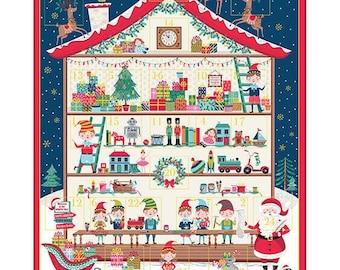Let it Snow - Santa's Workshop Advent Panel - Christmas Advent Calendar Panel by Makower- Christmas Advent Calendar Kit