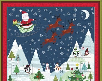Frosty Elf Christmas Advent Calendar Panel by Makower - Christmas Advent Calendar Kit