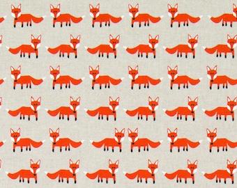 Foxes - Linen Look -  PRECUT HALF METRE