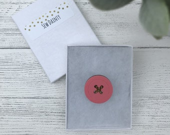 Pastel Pink Acrylic Button Brooch - Sew Dainty