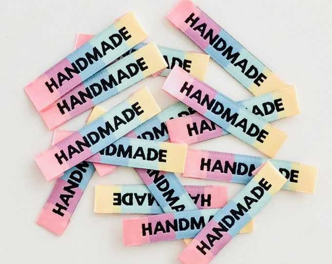 Featured listing image: HANDMADE Rainbow Woven Labels 8 Pack - Labels By Kylie and The Machine