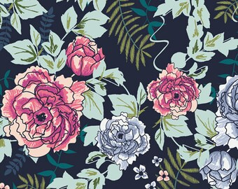 Everblooming Camellias Dim - Art Gallery Fabrics
