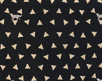 Triangle Dark Navy with Metallic Silver - Cotton Linen Canvas By Echino