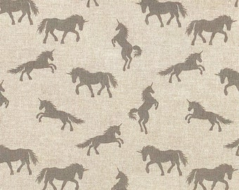 Grey Unicorns - Linen Look - Unicorn Fabric - Cotton Rich Linen Look - Canvas - Heavy Weight Fabric - Upholstery Weight - 140cm WIDE