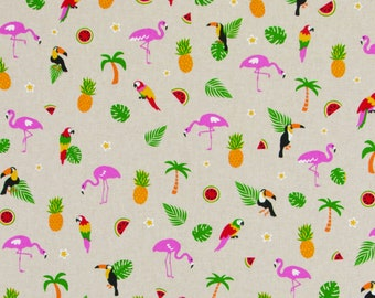 Tropical Birds - Linen Look - Tropical Fabric - Cotton Rich Linen Look - Canvas - Heavy Weight Fabric - Upholstery Weight - 140cm WIDE