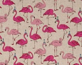 Party Flamingo - Japanese Canvas Fabric