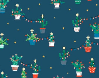 Holiday Cacti - Orion - Fa La La Llama - Dear Stella - Cactus Christmas Festive Holiday Fabric