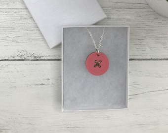 Pastel Pink Acrylic Button Necklace - Sew Dainty
