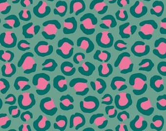 Teal Pink Leopard Print - Night Jungle - Dashwood Studio - Sold in Half Metre Increments