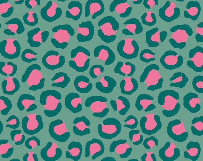 Featured listing image: Teal Pink Leopard Print - Night Jungle - Dashwood Studio - Sold in Half Metre Increments