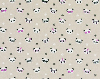 Cool Pandas - Linen Look -  PRECUT HALF METRE