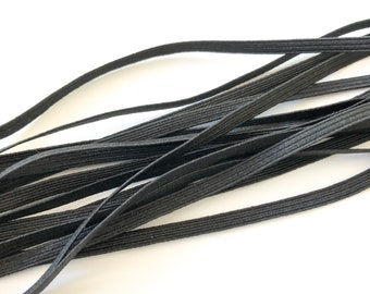 Black Elastic 5mm 6 cord - Sold by the metre - Face Mask Elastic