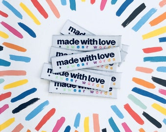 Made with Love and Swear Words Woven Labels 8 Pack - Labels By Kylie and The Machine