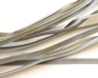 Grey Elastic 6mm 8 cord - Sold by the metre - Face Mask Elastic