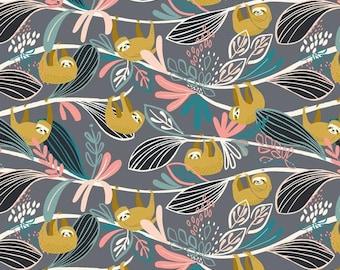 1f27670fdd7 Lazy Sloths - Rainforest Slumber - Blend - Quilting Cotton - Designer Fabric