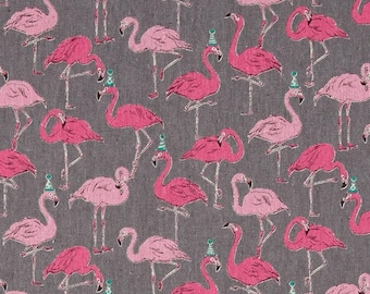 Party Flamingo Beige - PRECUT FAT QUARTER - Japanese Canvas Fabric