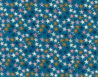 Blue Stars - PRECUT HALF METRE