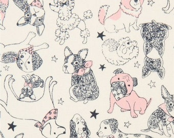 Dogs - PRECUT FAT QUARTER - Japanese Canvas Fabric