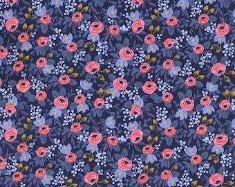 Les Fleurs Rosa - Navy Floral Fabric - Rifle Paper Co.