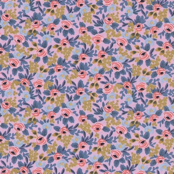 Menagerie - Rosa Metallic Fabric - Rifle Paper Co