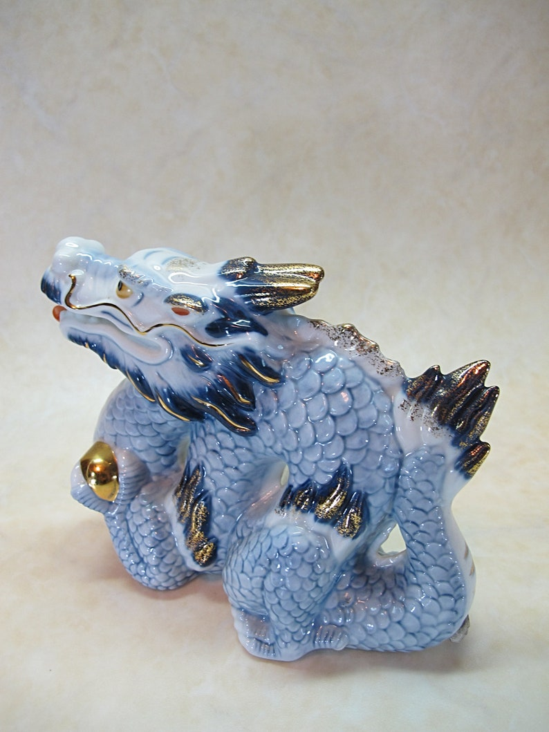 Seto Ware Decorative Ryuku Dragon Vintage Japanese Porcelain Dragon Asian Home Decor Fine Porcelain Figurine of Seto Yaki Gift,JPCHouse