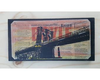 "New York City ""Brooklyn Bridge""on wood"
