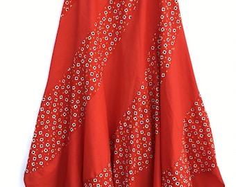 f3628cb35d Vintage Retro Womens Red Heart Daisy Print Patchwork Full Bias Swirl  Scallop Hem Midi Skirt Small