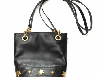 Vintage Black Vegan Faux Leather Gold Star Studded Bucket Shoulder Bag Purse 950a7096f0
