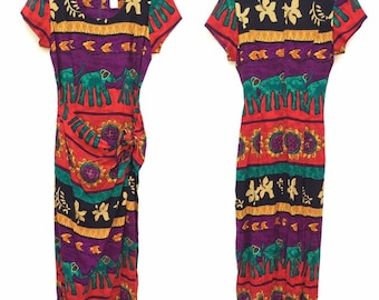 37d7a898 Vintage 90s Jessica Howard Womens Colorful Bright Novelty Elephant Tropical  Floral Print Maxi Sheath Wrap Dress Size 8