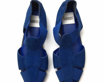 1c3ecfbfac4c7 Vintage 90s Scruples Womens Blue Suede Leather Elastic Stretch Sandals  Flats Size 10