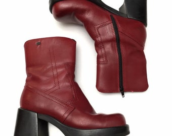 6113b66d744a Vintage 90s Skechers Womens Red Leather Platform Chunky Heel Mid Calf Boots  Goth Steampunk Style Size 7