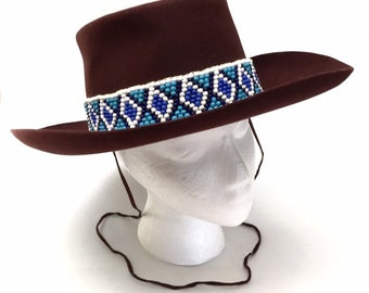c4b0a2555b793 Vintage Merit Maroon Burgundy Wool Felt Western Gambler Hat Turquoise  Beaded Band Adult Small