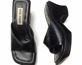f76a6361356 Vintage 90s Steve Madden Womens Black Leather Chunky Wood Platform Slides  Sandals Size 6.5