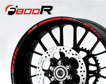 4 Adesivi Rim Stickers F 800 R per cerchi moto SILVER background Black /& Red