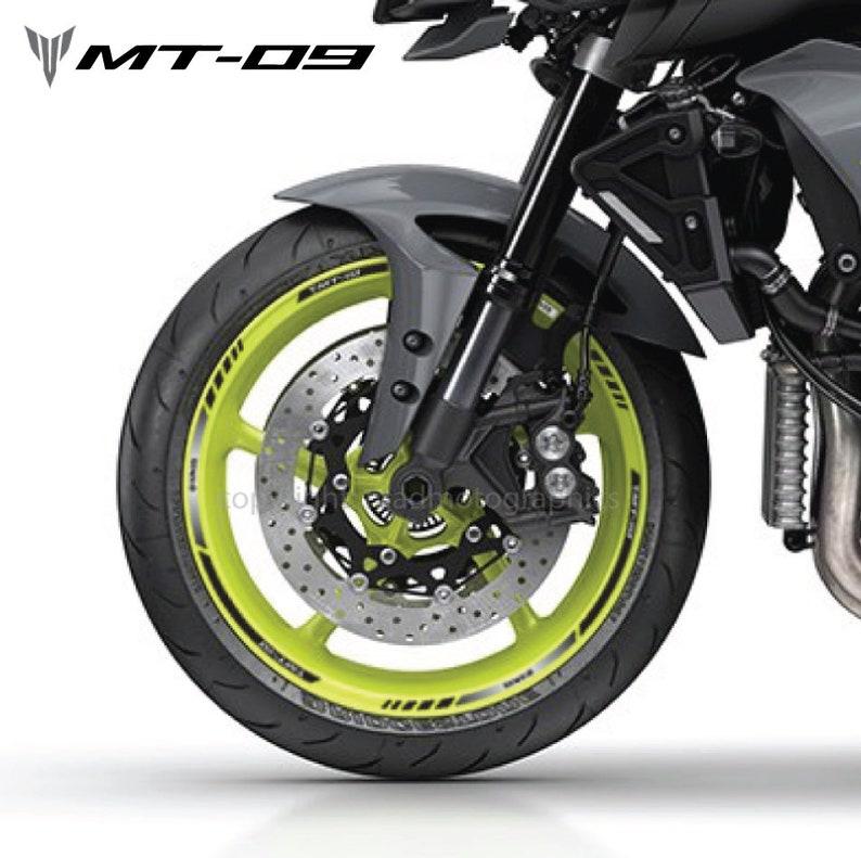 Yamaha Mt 09 Motorcycle Wheel Stickers Set Mt Decals Rim Stripes Tracer 900 Mt09 Motorbike Laminated Black