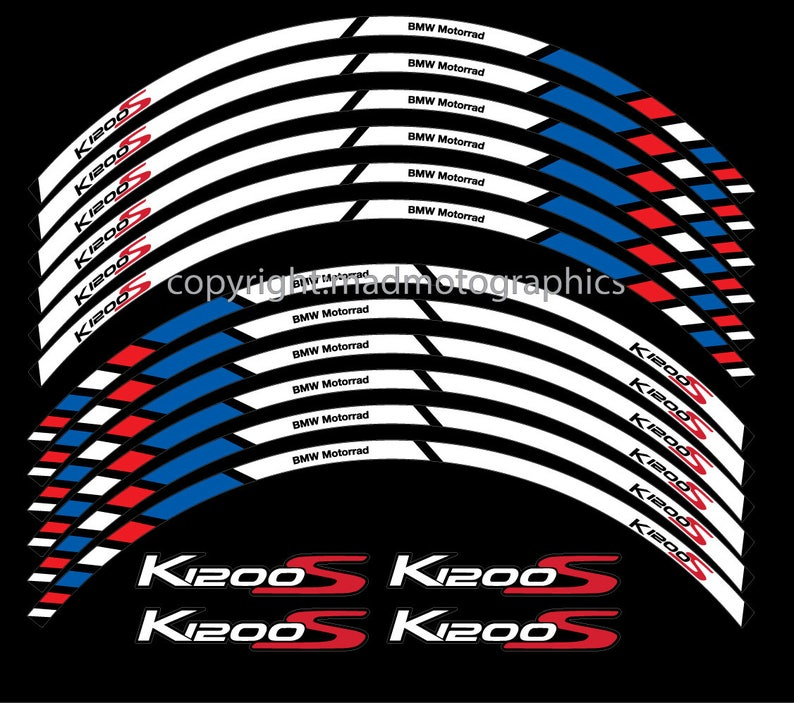 Bmw K1200s Motorcycle Wheel Stickers Set Decals Rim Stripes Etsy