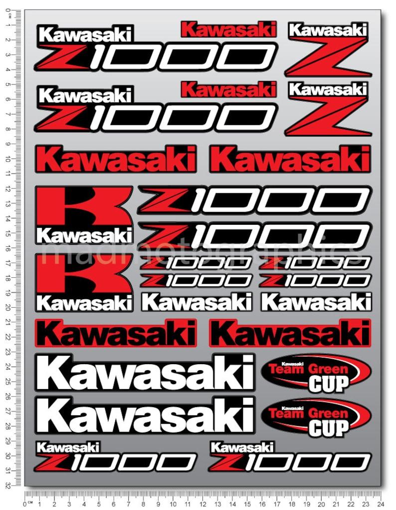 Kawasaki Z1000 Motorrad Aufkleber Verkleidung Grafik Abziehbilder Laminiert Rot