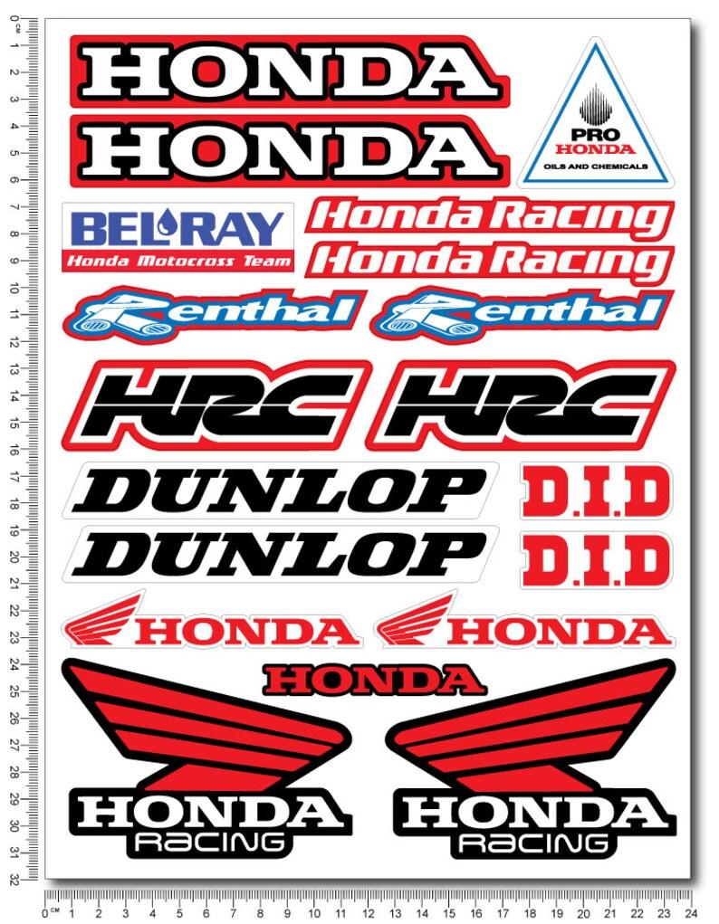 Honda Hrc Belray Dunlop Motorcycle Stickers Fairing Tank Etsy