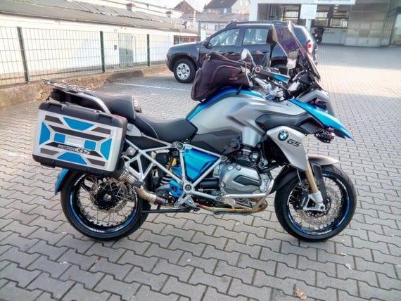 BMW R1200GS Adventure motorcycle wheel stickers set decals rim stripes  motorbike motorrad r1200 GS Laminated! Blue White