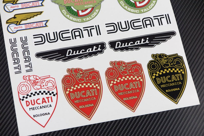 Ducati Old Retro Logos Motorcycle Stickers Fairing Tank Decals Etsy