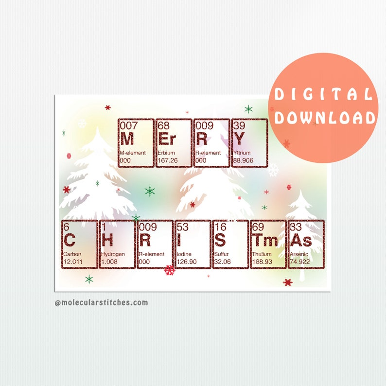 graphic regarding Printable Element Cards named Periodic desk xmas card printable, chemistry xmas card, periodic desk playing cards printable, science xmas playing cards electronic