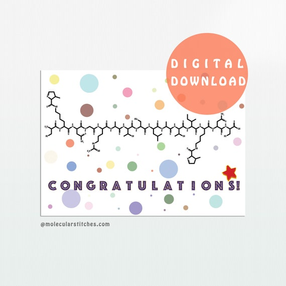 image regarding Congratulations Card Printable titled Chemistry card, congratulations card, science card, printable congratulations card, congratulations card obtain, prompt down load card
