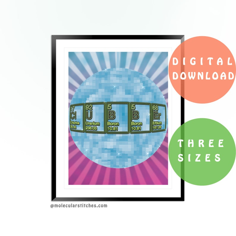 Clubber Poster Printable Periodic Table Poster Printable Etsy