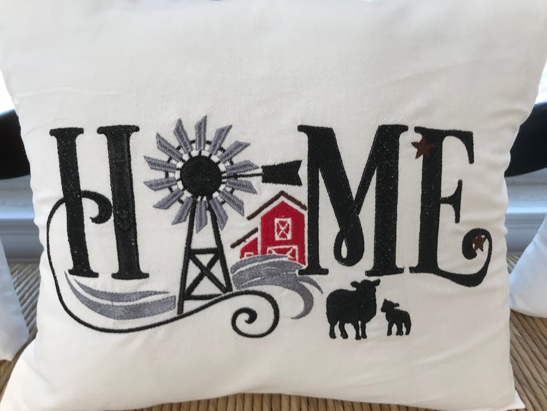 Embroidered Farmhouse Pillow image 0