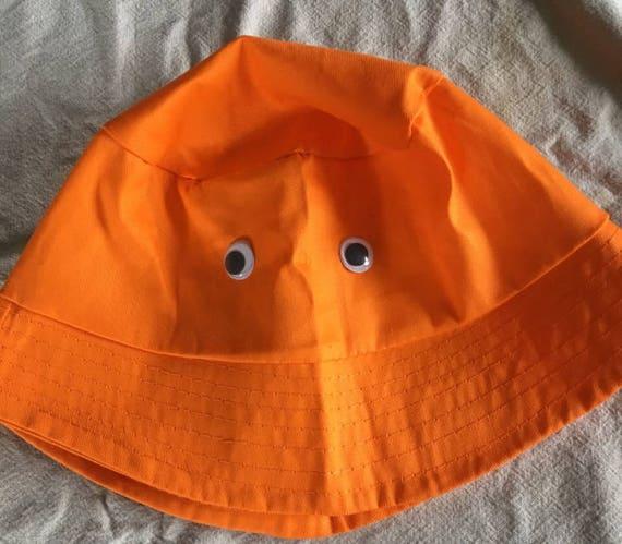 4f6c8ef079b92 Items similar to Orange bucket hat with googley eyes inspired by Big Lez on  Etsy