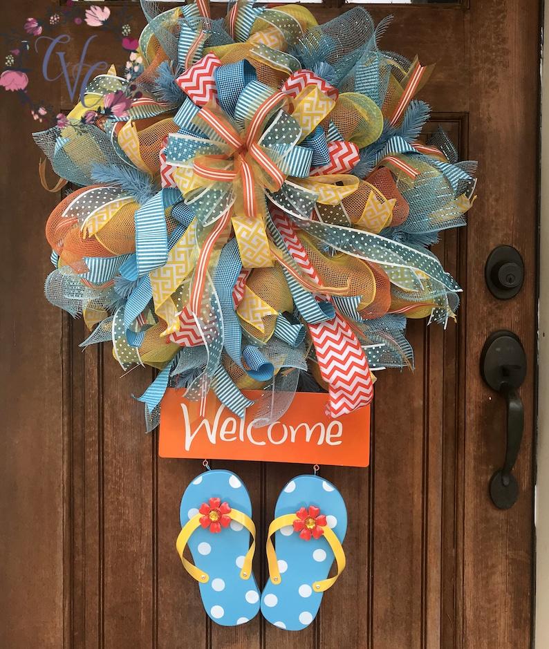 f4c1836af1166 Summer Wreath Flip Flop Wreath Summer Deco Mesh Front Door